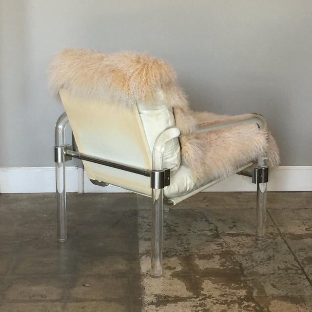 White Welcoming Mongolian Lamb Lucite Armchair For Sale - Image 8 of 10