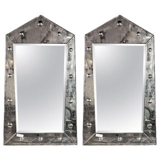 Venetian Style Pair Rare Pyramid Design Beveled Mirrors For Sale