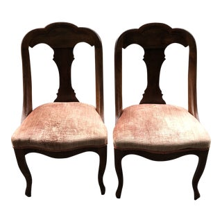 1920s Antique French Velvet Spoon Back Chairs - A Pair For Sale