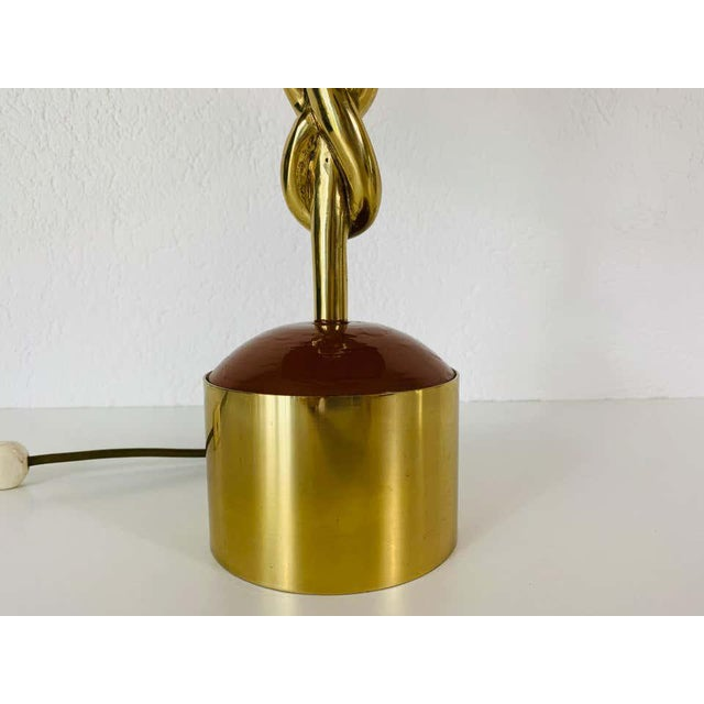 Heavy Italian Midcentury Solid Brass Table Lamp, 1960s, Italy For Sale - Image 10 of 13