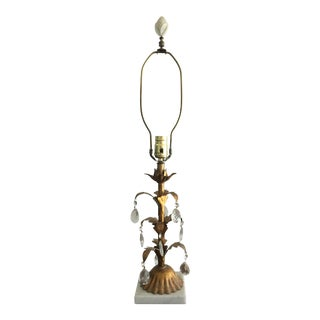 Vintage Brass and Crystal Table Lamp For Sale