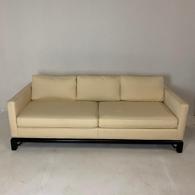 Asian Mario Buatta for Widdicomb Chinoiserie Silk 3 Cushion Sofas - a Pair For Sale - Image 3 of 9