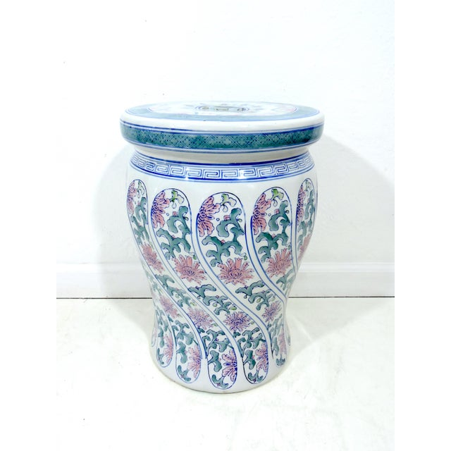 Late 20th Century Vintage Boho Chic Ceramic Chinese Blue, White and Pink Drum Stool or Garden Seat For Sale - Image 5 of 6
