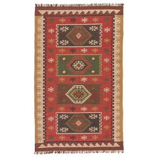 Jaipur Living Amman Handmade Geometric Red/ Gold Area Rug - 2′ × 3′ For Sale