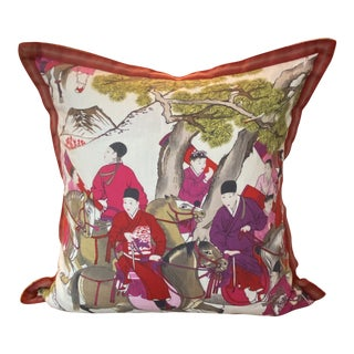 "Asian Style French Manuel Canovas Les Caveliers Feather/Down Pillow - 22"" Square For Sale"