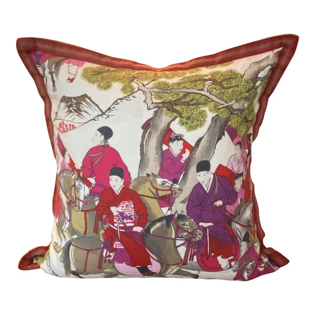 "Pair of Asian Style French Manuel Canovas Les Caveliers Feather/Down Pillows - 22"" Square For Sale"