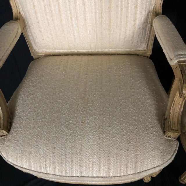 Louis XIV Neoclassical Style Cream Painted French Bergere Armchairs -A Pair For Sale - Image 11 of 13