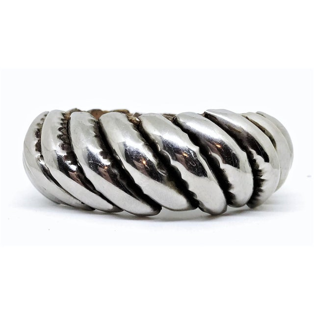 Silver Plated Wood Bangle For Sale - Image 4 of 4