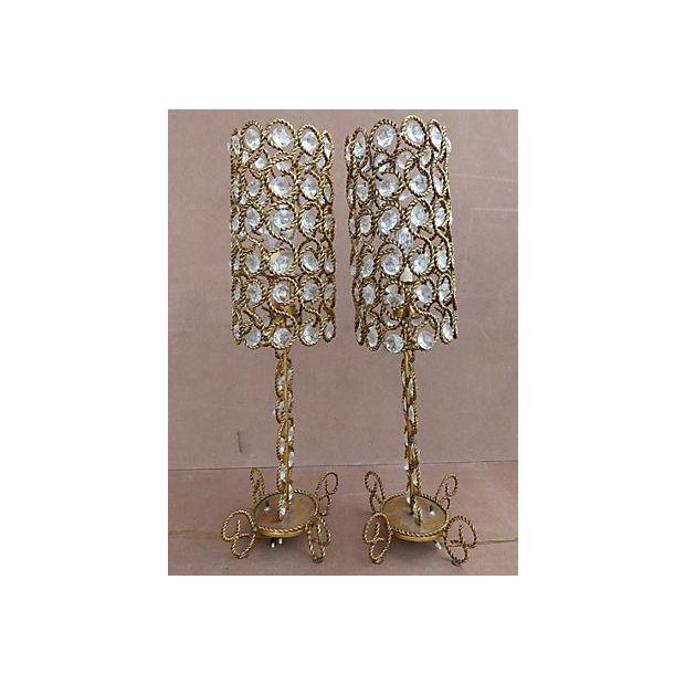 1970s Vintage Gilt Rope-Twist & Crystal Lamps - A Pair For Sale - Image 5 of 9