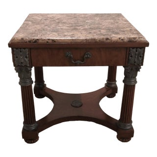 Empire Drexel Heritage Marble Top Solid Wood Square Side Table For Sale