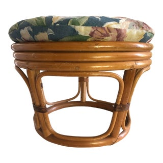 Mid Century Modern Rattan Floral Ottoman Footstool Stool For Sale