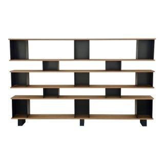 """Design Frères Polished Oak and Matte Black """"Horizontal"""" Shelving Unit For Sale"""