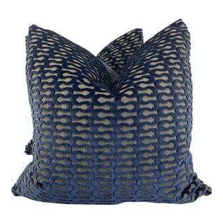 "Wavy Cut Velvet in Navy 22"" Pillows- a Pair For Sale"