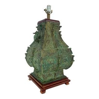 Monumental Vintage James Mont Bronze Lamp For Sale