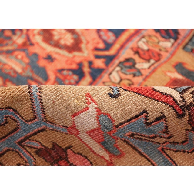 Late 19th Century Antique Heriz Persian Golden Background Rug - 9′2″ × 10′5″ For Sale - Image 5 of 11