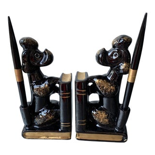 1950s Japanese Style Poodle Bookends With Pens - 4 Pieces For Sale