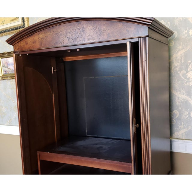 Hekman Furniture Burl Walnut Contemporary Entertainment Tv Armoire Cabinet For Sale - Image 10 of 13