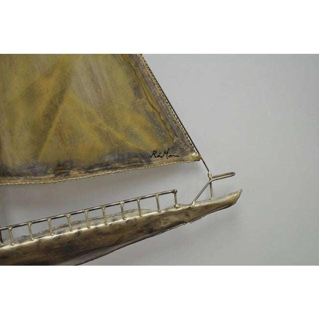 Vintage RaMan Brutalist Mid Century Modern Clipper Ship Wall Sculpture Jere Style For Sale - Image 9 of 11