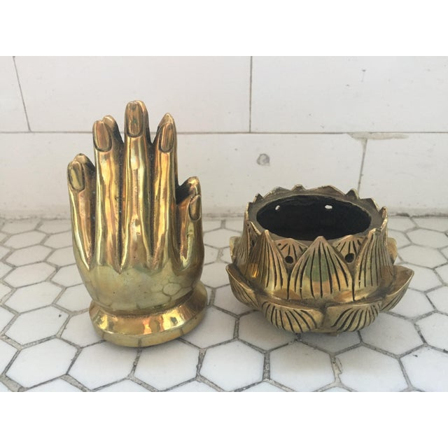 Hands on Lotus Brass Incense Burner - Image 6 of 8