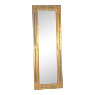 Vintage Gold and Green Carved Wooden Hanging Wall/Floor Mirror For Sale