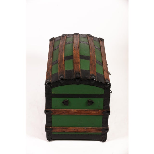 Antique Green Dome Carriage Trunk For Sale - Image 11 of 13
