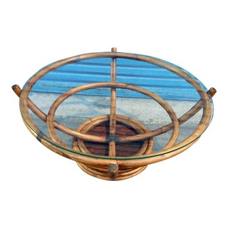 Glass Top Rotating Bamboo Coffee Table For Sale