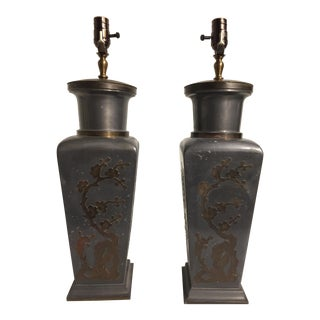 1950s Vintage Asian Inspired Pewter Table Lamps - A Pair For Sale