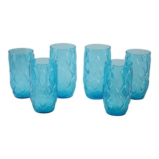 Vintage Blue Harlequin Cocktail Glasses - Set of 6