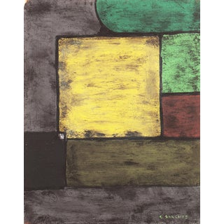 'Green & Yellow Abstract' by Carlos Sanchez, 1970s, 20th Century California Artist For Sale