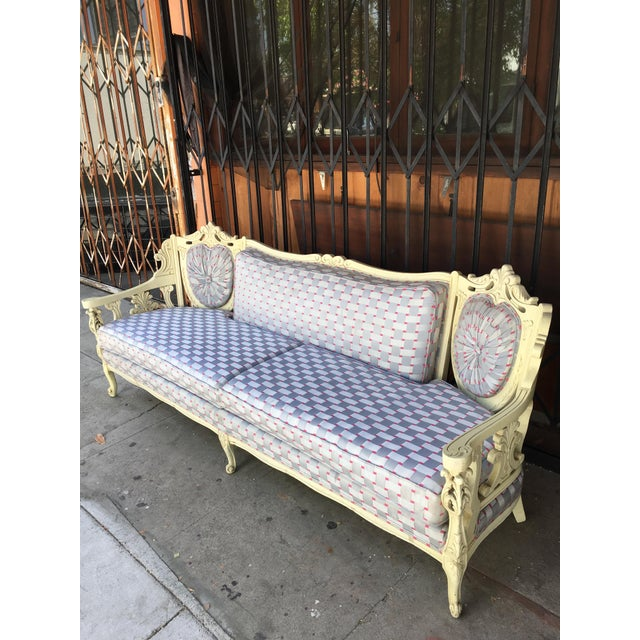 Shabby Chic Vintage Shabby Chic Style Sofa For Sale - Image 3 of 13