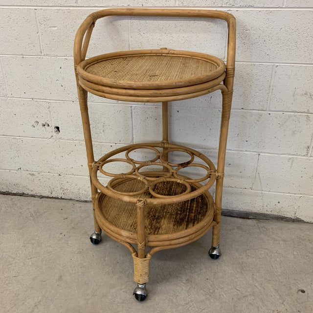 Vintage Bamboo Bar Cart on Casters For Sale - Image 12 of 12