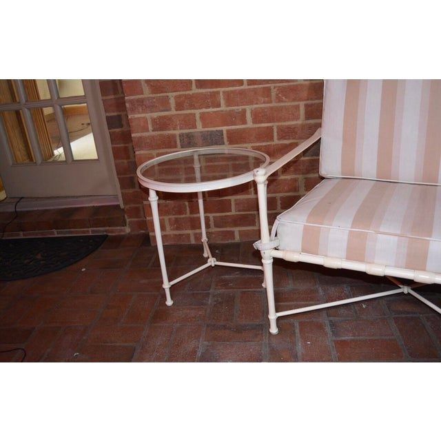 Brown Jordan Cast Metal Outdoor Settee, Ottoman & Accent Tables For Sale - Image 11 of 12