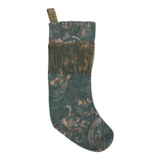 Blue Stenciled Stocking For Sale