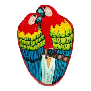 Mexican Painted Wood Parrot Cocktail Tray For Sale