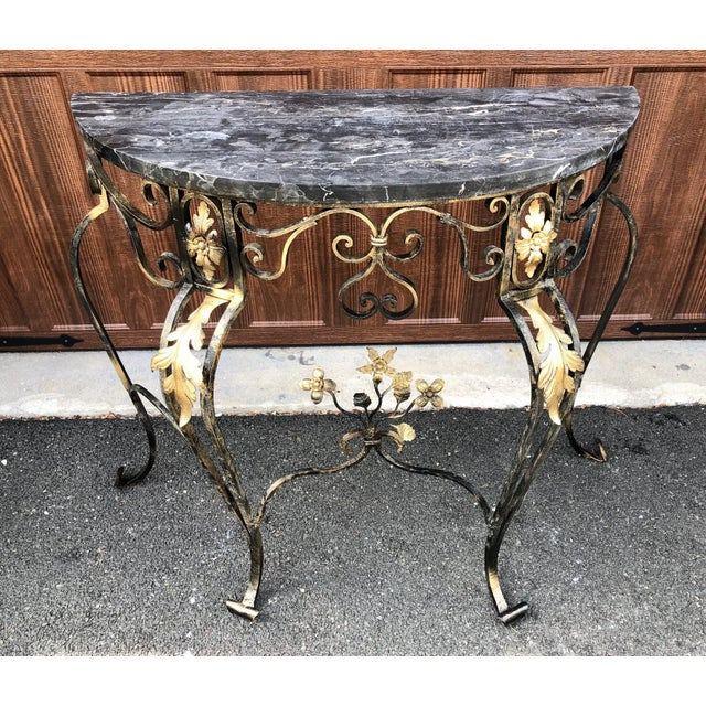 Hollywood Regency Hollywood Regency Italian Marble & Wrought Iron Demi Lune/Console Table For Sale - Image 3 of 10