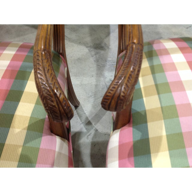 Modern French Style Arm Chair Multi Plaid Fabric - A Pair For Sale In West Palm - Image 6 of 8