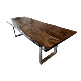 Rustic Handcrafted, Cool Toned Live Edge Acacia Wood Dining/Conference Table For Sale
