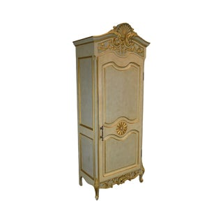 French Rococo Style Gilt Accent Custom Faux Painted Single Door Armoire For Sale