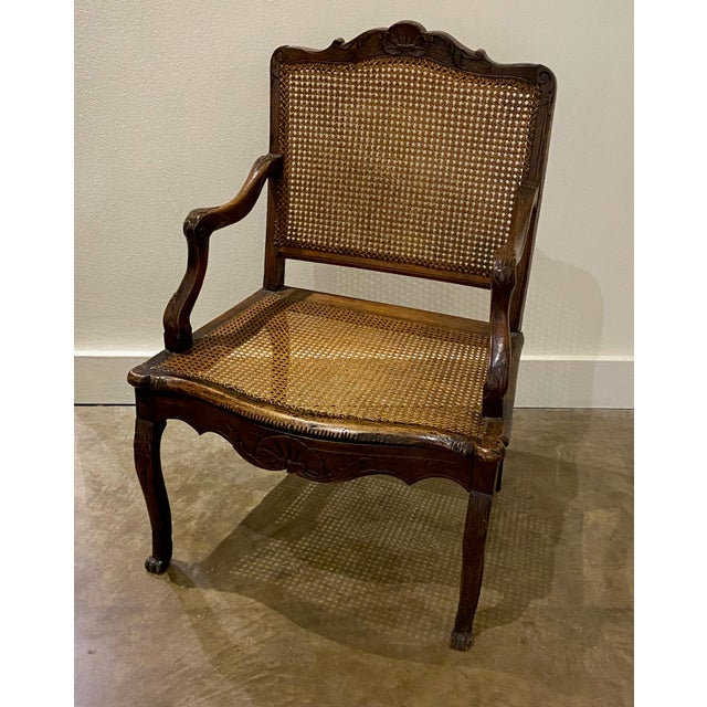 French Mid 18th Century French Cane Arm Chair For Sale - Image 3 of 11