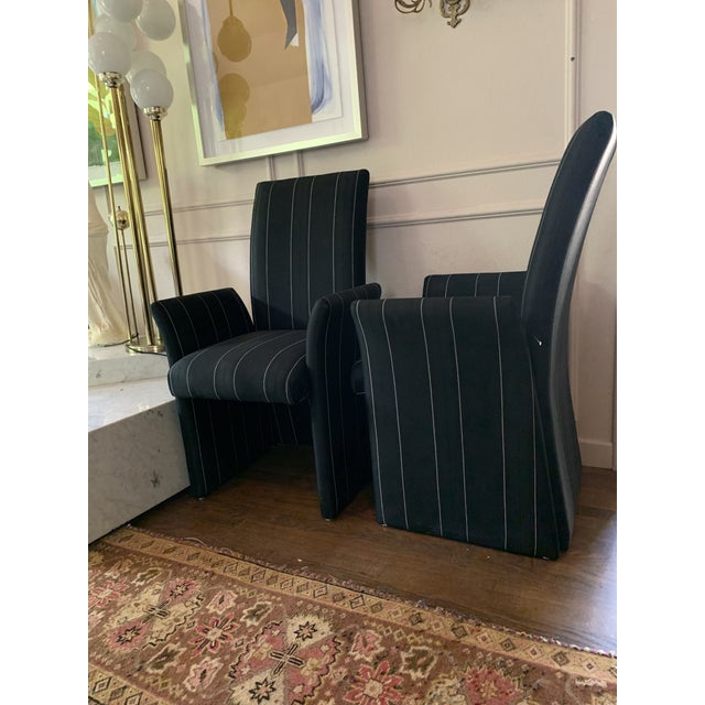 Astounding Sculptural Tuxedo Upholstered Dining Chairs A Pair Bralicious Painted Fabric Chair Ideas Braliciousco