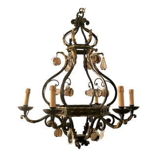 Antique French Iron Chandelier With Old Baccarat Crystal Fruit Prisms, Circa 1910. For Sale