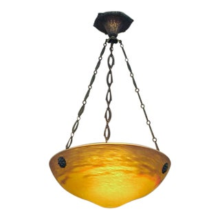 Signed Muller Freres Art Glass Bronze Metal Lighting Bowl Pendant Light For Sale