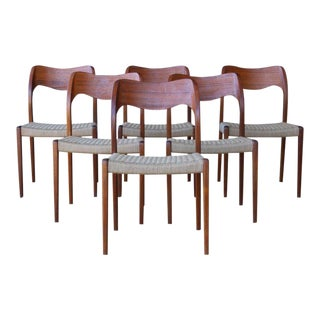 Set of Six Dining Chairs by Niels Moller, Denmark, 1960s For Sale