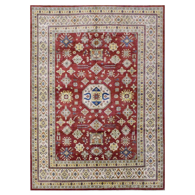 Afghan Kazak Wool Rug - 9'x11'11'' For Sale - Image 4 of 4
