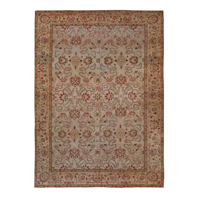 Handwoven Revival Agra Style Wool Rug For Sale