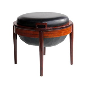1960s Vintage B. J. Hansen Rosewood & Leather Stool For Sale