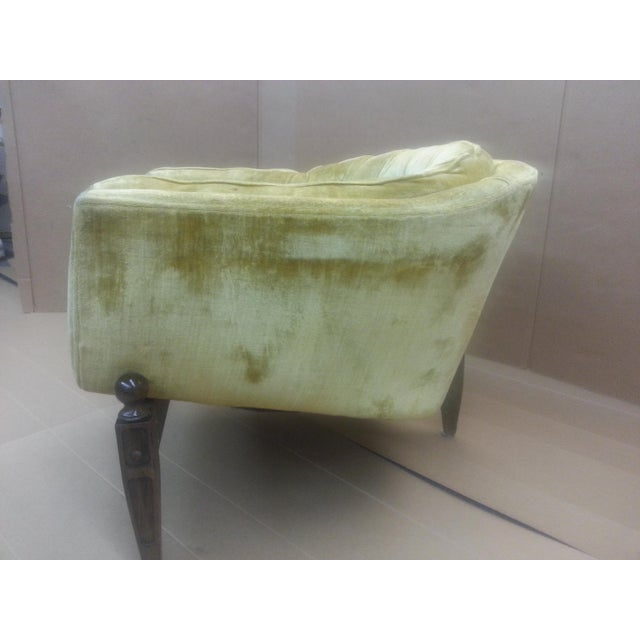 Gio Ponti Original Tufted & Tucked Gold Velvet Tripod Club Chair - Image 3 of 11