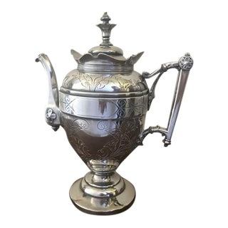 Late 19th Century 1880's Simpson, Hall, Miller & Co Triple Plated Silver Coffee Pot For Sale