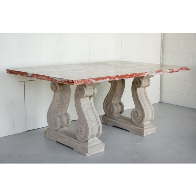 Mid 20th Century Vintage Mid Century French Marble-Top Center Table For Sale - Image 5 of 12
