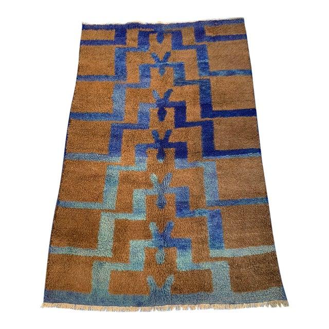 Long Hair Turkish Brown & Blue Geometric Step Pattern Rug- 4′3″ × 6′9″ For Sale